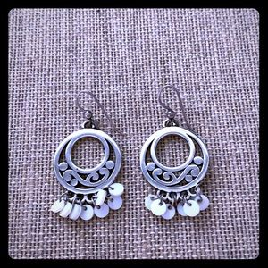 Brighton earrings with Mother's of pearl dangles
